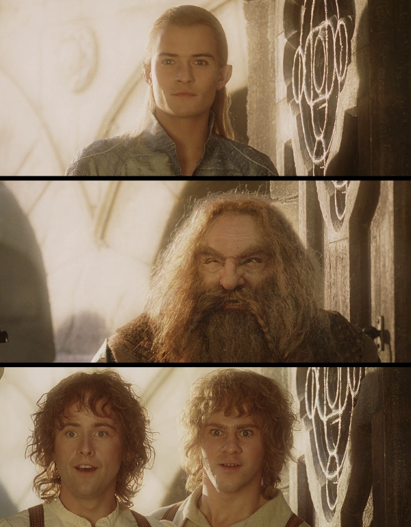 La entrada de Legolas, Gimli, Pippin y Merry